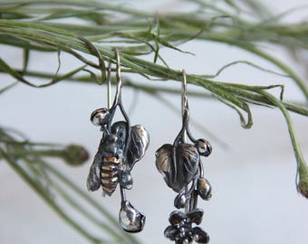 Unique earrings, bee earrings, mismatched earrings, sterling silver earrings, botanical jewelry, flower, summer, bee jewelry, oxidized