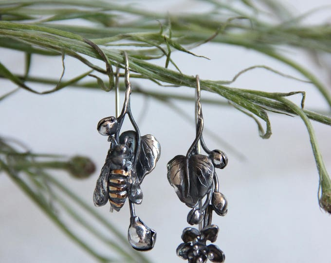 Featured listing image: Unique earrings, bee earrings, mismatched earrings, sterling silver earrings, botanical jewelry, flower, summer, bee jewelry, oxidized