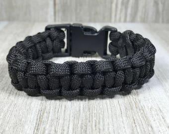 Black Paracord Bracelet; Black Survival Bracelet
