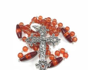 Red and Orange Rosary; Bright Orange Traditional Rosary; Rosary with Silver Cross, Catholic Rosary, Orange Prayer Beads