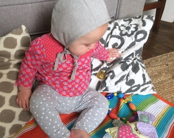 Grey linen baby bonnet handmade sizes up to 2 years