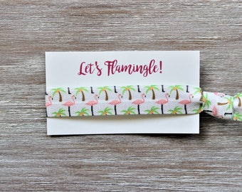 Flamingo Palm Tree White Pink Green Hair Tie-Let's Flamingle!