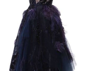 Couture Purple Gown with Beading, Feathers, Lace