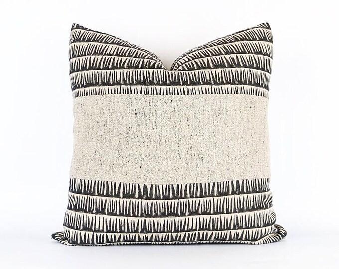 Hand Block Printed Linen And Belgian Linen Pillow Cover 20x20
