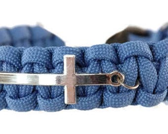 Cross Bracelet - Paracord Cross Bracelet - Cross Jewelry - Religious Jewelry - Sideways Cross - Faith Jewelry - Gift