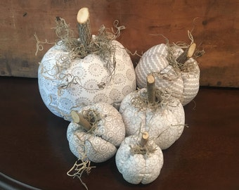 Fabric Pumpkins, Light Gray and White 5