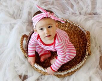 Pink Stripe Turban Knot Headband - Girls Turban Headband - Pink And White Stripe - Valentines Day - Valentine's Headband