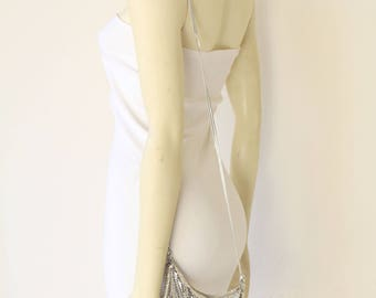 80's Vintage Whiting and Davis Silver Mesh Crossbody Evening Bag