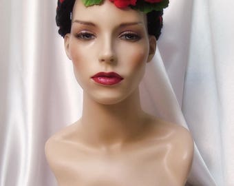 Frida Kahlo Crown, Boho Floral Headpiece, Day of the Dead Folklore Headpiece
