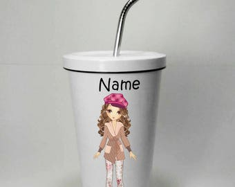 Girl Style 3 Stainless Steel Tumbler 16 OZ with Straw, Stainless Tumbler with Custom Name, Stainless Steel Travel Mug