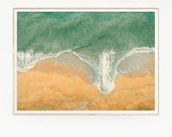 Printable Sea Waves Wall Decor Print Poster Tropical Beach Marine Foam Retro Vintage Colour Photo Nature Sea Minimalist Blue Water 1026