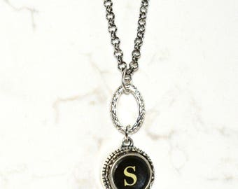 Typewriter Key Necklace, Personalized with a Letter S Initial, Initial Necklace, Gift for Her.