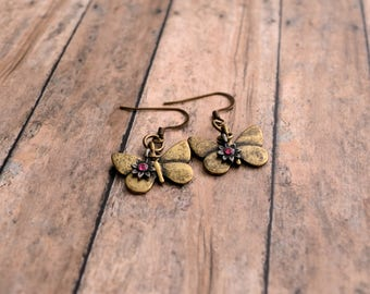 Butterfly Earrings, Vintage Earrings, Metal Earrings, Gift Under 15 Dollar, Gift For Her, Rhinestone Flower, Christmas Gift For Her, Boho.