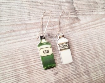 Gin and tonic - Gin earrings - Drop earrings - Gin jewellery - Gin gift - Gin lover - Gin bottle - Quirky earrings - Gin lover gift
