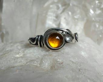 Amber set Sterling Silver Leaf Ring