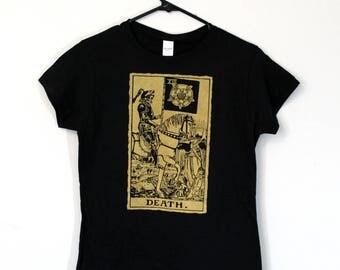 Ladies Golden Tarot Death Card Tee / womens Occult T-Shirt