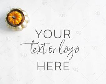 Fall Themed Desk Mockup / Styled Stock Photography / Mockup / Styled Photo for Blog Website / Desk Mockup Pumpkins / Marble Desk