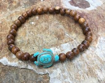 turtle bracelet turquoise blue sea turtle brown wooden beads mens bracelet women's bracelet Sea turtle bracelet gift for him gift for her