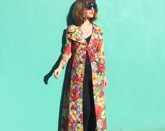 Floral Duster / Long Vintage Sheer Maxi Jacket / Boho Robe 60s 70s Glamour