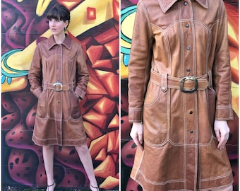 70s Leather Trench Coat / Reversible Vintage Brown Suede Belted Trenchcoat