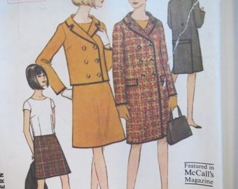 Misses, Ladies, Womens, Coat, Jacket, Skirt, Blouse, Vintage, Sewing Pattern, Size 10, Bust 36, McCalls No 7938, 1965, Envelope, Instruction