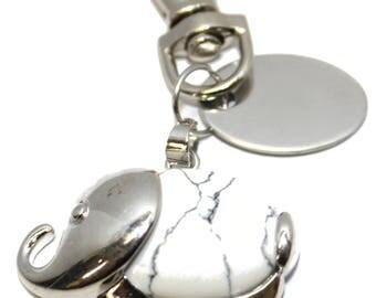 Engraved / personalised imitation white turquoise elephant keyring / handbag charm BR512