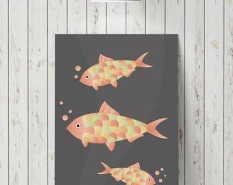 Animal wall decor print, animal graphic art print, fish wall art print, modern wall art, nursery wall decor, fish graphic design print, art