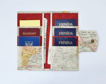 6 passport wallet, document organizer, family passport holder, travel gifts, travel accessories, passport case, map print, world map