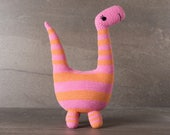 Barbara the Brontosaurus;  amigurumi, crocheted, crocheted critter, baby, toy, softie, gift.