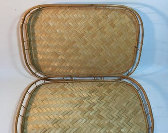 Vintage Wicker/Bamboo Serving Trays, Lap Trays, Rectangle Serving Trays