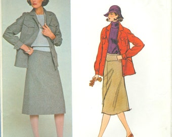 1970s Misses' Jacket and A-line Skirt by Pierre Balmain Uncut Factory Fold Size 14 - Vogue Paris Original Sewing Pattern 1306