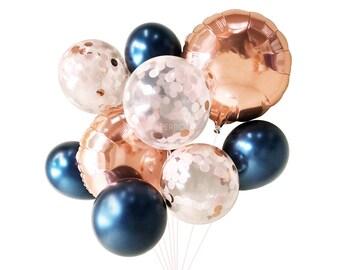 Navy Blush and Rose Gold Balloons ( Balloon Bouquet Bundle ) - Fall / Autumn Wedding Decor