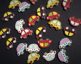 CAR TAXI BUTTONS,Novelty Automobile Buttons,Painted Craft Buttons,Craft Supply,Scrapbook Supply,Wood Crafts,Sewing Buttons,Sewing Notions,