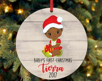 Baby's Girl First Christmas Ornament, Personalized Christmas Ornament, Custom Ornament, African American Christmas Ornament (0049)