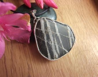 Black White Pebble Pendant Necklace from Crete Greece Sterling Silver Design Pebble Beach Stone Beach Rock Handmade Sea Stone Jewel