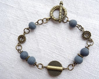 Brass Bracelet with Denim Ceramic Beads and Brass Beads
