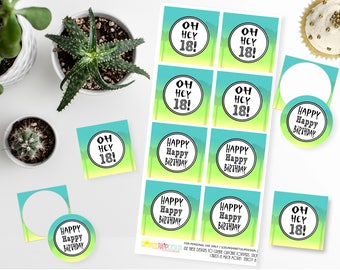 Printable 18th Birthday Cupcake Toppers, 18th Birthday Gift Tags, Oh Hey 18th Birthday Party Cupcake Toppers and Tags by SUNSHINETULIPDESIGN