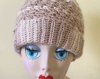 Crochet Hat, Cream Hat, Cafe Au Lait, Ladies Teens Cap, Winter, Outdoor Activities Cap, Ski Hat