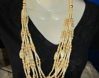 Vintage Multi Strand Wood Wooden Beaded Necklace with Gold Accents