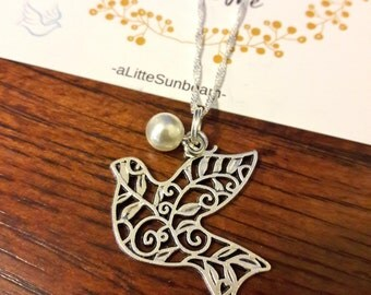 Young Women 20 count 2018 Peace in Me Necklace pearl filigree dove gifts LDS Young Women 2018 birthday gifts new beginnings YW