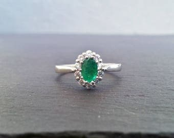 Vintage Emerald Diamond Halo Engagement Ring