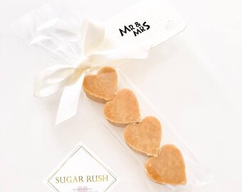 20 x Homemade Scottish Tablet Heart Wedding Favours (Favors)