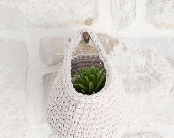 Crocheted Hanging Basket, Beige, storage solutions, small basket, housewares, jewellery basket