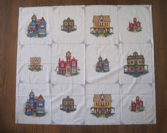 VIP Cranston Print Works, Victorian Houses, Screen Print,, Cotton, Quilt, Fabric, More than a Yard, Project