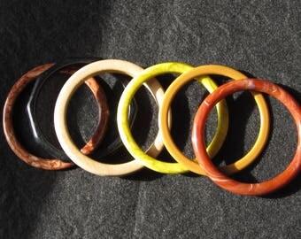 Vintage Bangles Set of 6 Lucite Not Bakelite Wood Earthtones Mod Rockabilly Boho Spacers