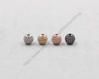 8mm Pave Zircon Beads Gold Silver Rose Gold Black Gold Plated For Jewelry Making Craft Supplies Wholesale Charms MHA-161