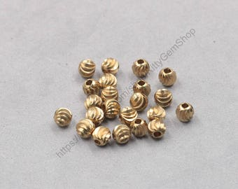 100Pcs, 3mm Raw Brass Beads , hole size 1mm GY-PHZ102