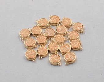 10mm Quartz Druzy Bezel Connectors -- With Electroplated Gold Setting Edge Druzzy Drusy Geode Dainty Charms Supplies Handmade YHA-324