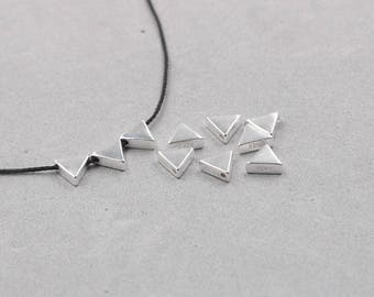 2Pcs 6mm Sterling Silver Triangle Beads -- 925 Silver Bead Charms Wholesale JD-025