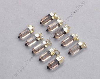 18mm Point Smoky Quartz Pendants -- With Electroplated Gold Edge Gemstone Charms Wholesale Supplies YHA-337